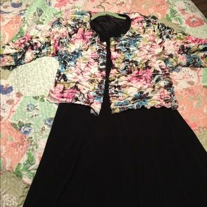 2pc black dress with floral shrug
